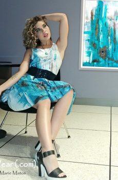 Flare dress. Aqua. Liz
