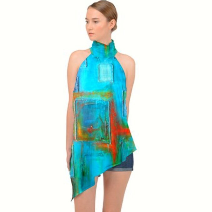 Halter Asymmetrical Satin Top. Turquoise.