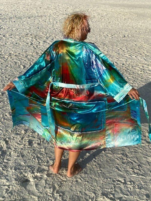 Wearable Art Satin Maxi Kimono. Turquoise Dreems