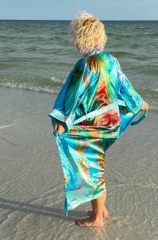Maxi Satin Wearable Art Kimono